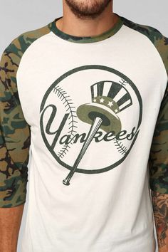 New York Yankees 2014 Camo Raglan Tee