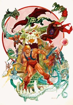 Estabon Marato was a Conan artist tapped by Mattel for the He-Man franchise. An interesting choice, his figure work is lithe and sensual , more like dancers than body builders. Scare Glow appears as a more heroic figure looking more like a masked wrestler or super hero than a demon. It's possible Estabon didn't know he was a villain. Blades was a villain created for the movies. It's interesting to see him with the mainstream He-Man universe.