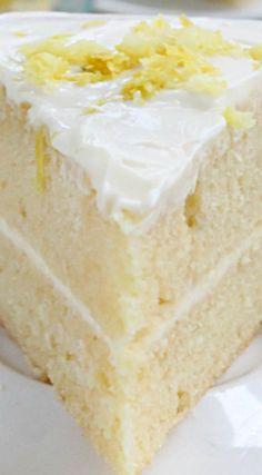 Lemon Layer Cake with Homemade Lemon Curd and Mascarpone Frosting