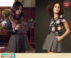 Aria's striped skirt on Pretty Little Liars.  Outfit Details: http://wornontv.net/35918/ #PLL