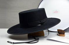 f49f45e91e376 The Gaucho - Black Rabbit Fur Felt Flat Crown Bolero Hat - Extra-wide Brim  - Men Women
