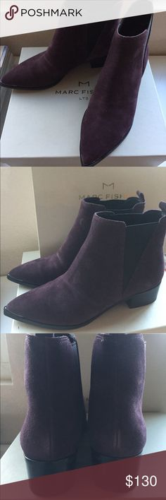 "Marc Fisher Ankle Boots NWT Purple Suede ML Yale Marc Fisher Pointy Toe Ankle Boot; 2"" heels; Chelsea style boot Marc Fisher Shoes Ankle Boots & Booties"