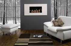 living room contemporary - Google Search - note solid wall between windows w/fp framed