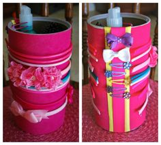 DIY Headband & Hairclip holder made out of a Quaker Oats Container! SO fun to make and great organization!
