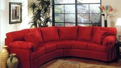 Comfortable Ruby Red Sectional Sofa Living Room Couch