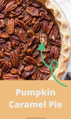 This Pumpkin Pie features coconut caramel sauce and topped with Pecans. It's absolutely scrumptious.