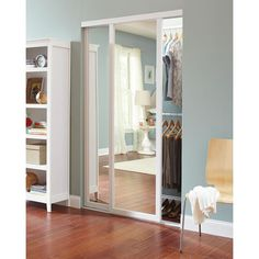 Contractors Wardrobe 72 in. x 81 in. Serenity White Wood Frame Mirrored Interior Sliding - The Home Depot Sliding Door Window Treatments, Sliding Doors, Contractors Wardrobe, Mirror Closet Doors, Back Painted Glass, Closet Door Makeover, Wood Framed Mirror, White Mirror, White Wood