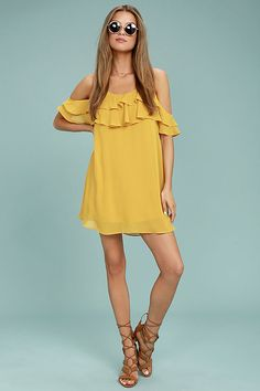 Impress the Best Yellow Off-the-Shoulder Dress 2