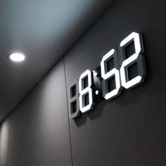 LED Wall Clock Modern Digital Table Desktop Alarm Clock Nightlight Wall Clock Home Decoration Living Room Digital Watch - Home Decor Led Wall Clock, Wall Clocks, Wall Watch, White Clocks, Clock Display, Modern Clock, Digital Clocks, Luz Led, My New Room