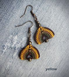 Handcrafted macrame earrings made with Linhasita thread and metal beads - old copper tone / old bronze tone