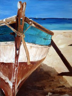 original painting canvas seascape boat rustic by AgatasArtCorner, $275.00: