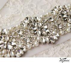 Crystal Bridal Sash  Rhinestone Bridal Belt  Beaded Wedding Bash - satin sash with crystal, pearl and rhinestone beaded applique 17