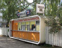 The architect of the Futuro house, Matti Suuronen, also designed this plastic kiosk. This rare example is in Jyväskylä.