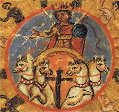 The sun-god Helios in a chariot drawn by four horses Ptolemy Rome BAV Vat. gr. 1291 - fol-9r - about 813 to 820 S-050