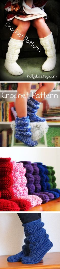 Hollydoll crocheted boot slippers - *Inspiration*  I have made these and love them!  Great pattern, you have to buy it on Etsy, well worth it!