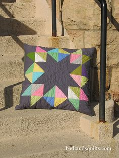 Beautiful modern quilt pillow in solids