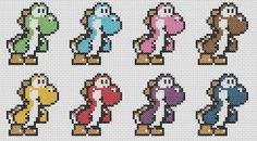 This cute set of Yoshi patterns is available at Craftsy.com. You can stitch just one Yoshi or a whole rainbox of Nintendo Yoshi fun! Happy Stitching