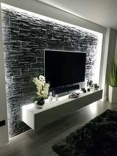 Modern and graceful TV wall design. Living room TV ceilings Beautiful & & interior decorating The post Modern and graceful TV wall design. Living room TV blankets beautiful appeared first on Trendy. House Design, Home Living Room, Interior, Living Room Bedroom, Tv Wall Design, House Interior, Wall Design, Living Room Tv Wall, Living Design
