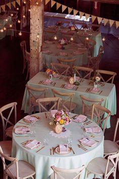 wedding reception with mint and pink, photo by Dreamlove Photography http://ruffledblog.com/bishop-farm-wedding #weddingideas #receptions