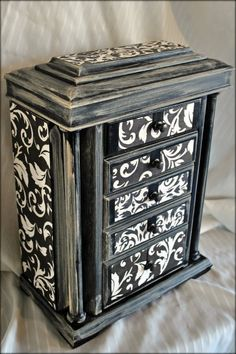 Upcycled Jewelry Box Damask Distressed by MakeUpandMudBoutique, $65.00