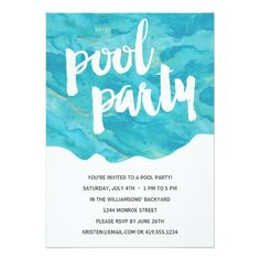 Backyard Splash | Pool Party 5x7 Paper Invitation Card - cute card with blue watercolor and brushed lettering