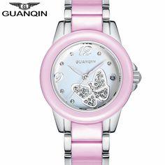 >> Click to Buy << Women's Fashion Watches Luxury Brand GUANQIN Women Casual Ceramic Bracelet Wristwatch Ladies Dress Quartz Watch relogio feminino #Affiliate
