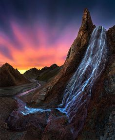 Sunset Waterfall - Landmannalaugar, Iceland