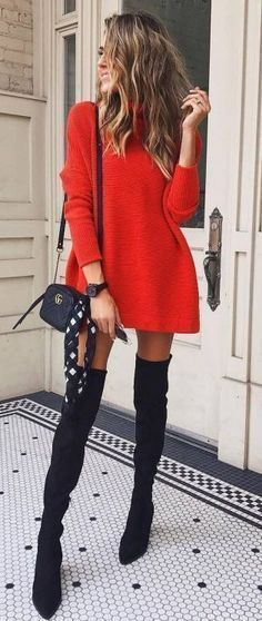 Fall Style // Red sweater dress + bag + over knee boots Herbststil // Rotes Pulloverkleid + Tasche + Overknee-Stiefel Winter Dress Outfits, Winter Outfits For Work, Outfit Summer, Fall Outfits 2018, Autumn Outfits, Church Outfits, Night Outfits, Summer Shoes, Look Fashion