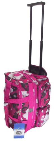 """Small travel bag 18"""" CABIN APPROVED Hot Pink Floral print. NEW Expanding Holdall trolley TOP QUALITY hand Luggage furniture and your home http://www.amazon.co.uk/dp/B00JDLNUXG/ref=cm_sw_r_pi_dp_UtxPvb17QCYRB"""