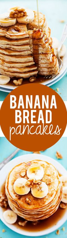 Pancake Recipes for Every Occasion! Banana Bread Pancakes Recipe via Creme de la Crumb - The ultimate breakfast twist on classic banana bread!Banana Bread Pancakes Recipe via Creme de la Crumb - The ultimate breakfast twist on classic banana bread! What's For Breakfast, Breakfast Pancakes, Breakfast Dishes, Breakfast Recipes, Banana Breakfast, Pancake Dessert, Fruit Pancakes, Pancakes Easy, Yummy Pancake Recipe