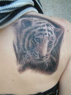 baby tiger back tattoo