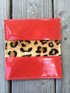 Red Metalflake Checkbook Cover with Lush Leopard by StitchCult