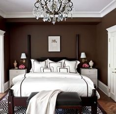 decorating ideas for bedrooms | Brown Bedroom Ideas, The color red in this bed on a mattress and white ...