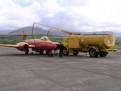 Meteor of the Royal Aircraft Establishment being refueled at LLanbedr, Wales, Navy Aircraft, Military Aircraft, Gloster Meteor, Fuel Truck, Experimental Aircraft, Royal Air Force, Royal Navy, Cold War, Airplane