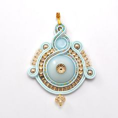 Mint light blue soutache pendant gold shiny by PikLusSoutache