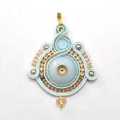 Mint light blue soutache pendant gold shiny by PikLusSoutache