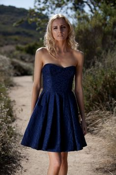 """Women's """"Couture Series"""" Glamorous Navy Blue Formal Strapless Spring Party or Cocktail Dress"""