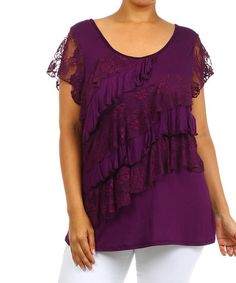 c6de19fb6b2518 J-Mode USA Los Angeles Plum Lace Ruffle Angel-Sleeve Top