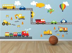 Truck Wall Decal - Construction Wall Decal - Plane Wall Decal-Transportation Wall Decal - Boy Wall Decal-Nursery Wall Decal- Car Wall Decals by YendoPrint on Etsy https://www.etsy.com/listing/206014405/truck-wall-decal-construction-wall-decal