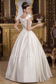 Ball Gown Wedding Dresses Square Floor Length Satin Ivory 010010200512
