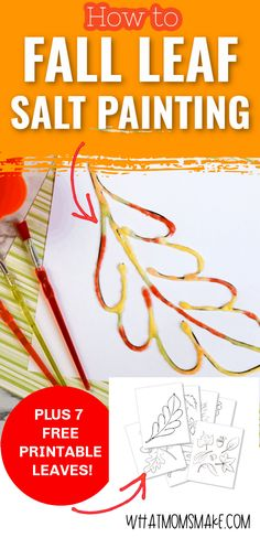 Want to show your children how fun painting with salt can be? This post will show you how to create a fall leaf watercolor salt painting! #fall #kidsactivities #homeschool #crafts #homeschoolcraft #homeschoolactivity Diy Craft Projects, Craft Tutorials, Diy Crafts For Kids, Fall Crafts, Craft Ideas, Fall Activities For Toddlers, Fun Activities, Salt Painting, Watercolor Painting