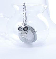Tea Infuser Ball with Colorful Rhinestone Owl Weight Handmade Loose Tea Strainer