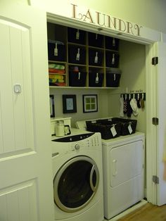 Beautiful Laundry Closet! I like the way this is set up