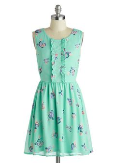Summer Spritzer Dress - Mint, Multi, Floral, Ruffles, Casual, A-line, Sleeveless, Scoop, Daytime Party, Mid-length