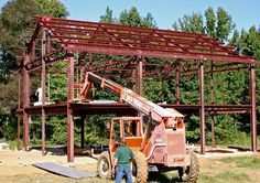 Example of #construction equipment during Primary framing building process. #steelhomes