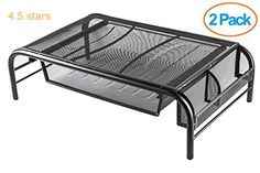 (Rating: 4.5 stars) Halter Mesh Metal Monitor Stand/Riser with Pull Out Drawer and Side Compartments Black 2-Pack Halter Monitor Drawer Compartments 2 Pack is a top pick of a deal among the hot selling products in Office Products  category. Click below to see its Availability and Price in your country.