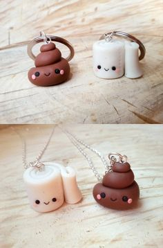 Poop and toilet paper friendship keychains, poop and paper pendant, best friend charm, bff funny necklace, kawaii charm, friendship charm