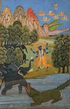 Indian miniature - Bhagavata Purana illustration: Gajendramoksha.* Jaipur, circa 1820 - 30.