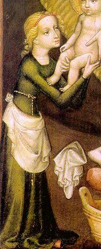MAESTRO DI SALZBURG - La Natività (detail) - c. 1400 - Österreichische Galerie Belvedere, Vienna