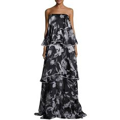 Sachin & Babi Noir Jackie Silk Strapless Tiered Gown ($1,595) ❤ liked on Polyvore featuring dresses, gowns, apparel & accessories, floral evening dresses, erika strapless floral-print gown, silk evening dresses, strapless evening dresses and silk dress